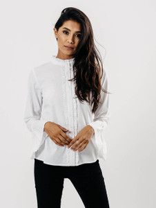 White Ruffle Seam Pleated Sleeve Shirt