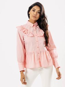 Pink Ruffle Front Frill Shirt