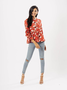 Pink Floral Ruffle Split Sleeve Top