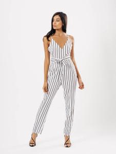 White Stripe Tie Waist Jumpsuit