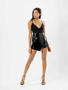 Black Wrap PU Skort Playsuit