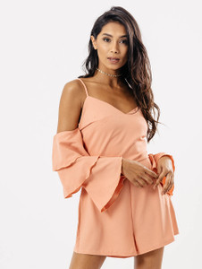 Blush Cold Shoulder Tier Sleeve Playsuit