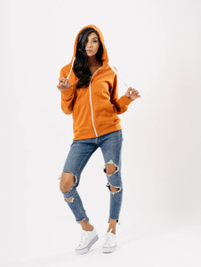 Jersey Zip Hoodie in Burnt Orange