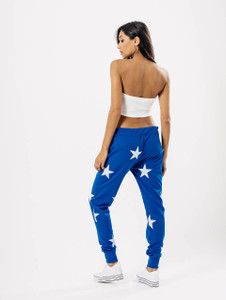 Royal Blue Star Print Joggers