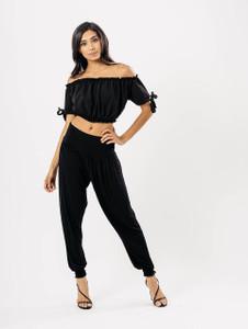 Black Drop Crotch Harem Trousers