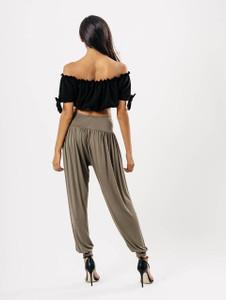 Khaki Drop Crotch Harem Trousers