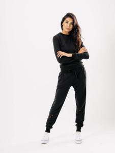 Black Distressed Crew Neck Loungewear Set