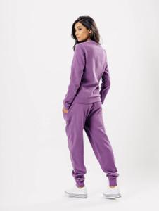 Purple Distressed Crew Neck Loungewear Set