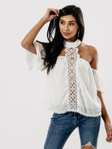 White Cold Shoulder Halterneck Lace Front Top