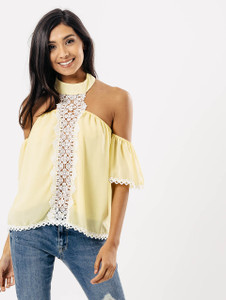Yellow Cold Shoulder Halterneck Lace Front Top