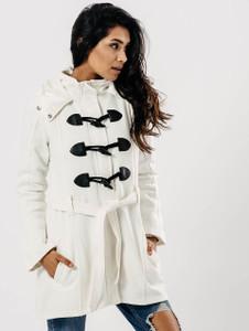 White Hooded Toggle Fasten Tie Waist Coat