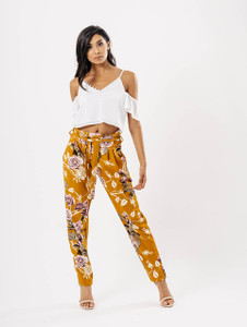 Mustard Floral Belted Trousers