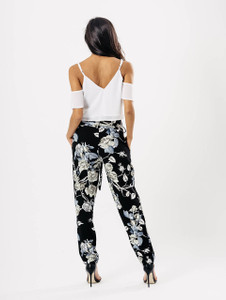 Black Floral Belted Trousers