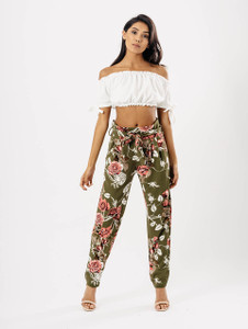 Khaki Floral Belted Trousers