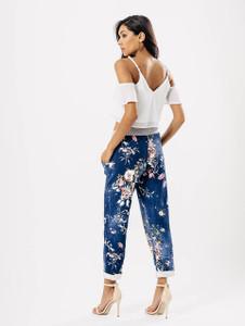 Dark Wash Chambray Floral Print Drawstring Trousers