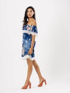 Dark Wash Floral Print Lace Bardot Dress