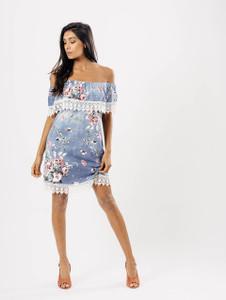 Light Wash Floral Print Lace Bardot Dress