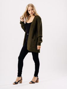 Khaki Oversized Knitted Cardigan