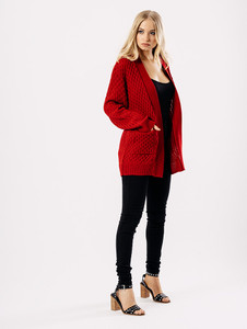 Red Oversized Knitted Cardigan