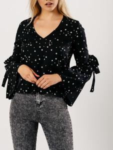 Black Star Print V Neck Tie Fasten Flare Sleeve Top