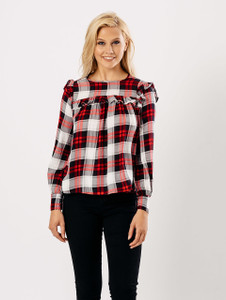 Red Check Frill Front Long Sleeve Top