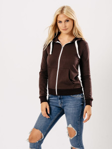 Jersey Zip Hoodie in Chocolate Brown