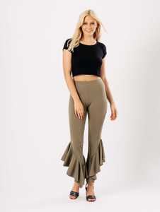 Khaki Extreme Ruffle Hem Trousers