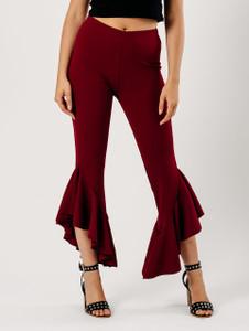Wine Extreme Ruffle Hem Trousers