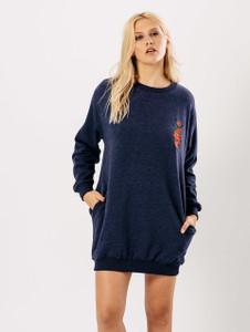 Denim Blue Embroidered Oversized Jumper Dress