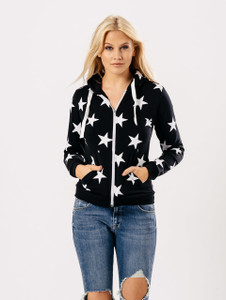 Black Star Print Zip Through Hoodie