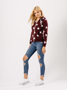 Wine Star Print Zip Through Hoodie