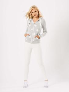 Grey Star Print Zip Through Hoodie