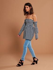 Shirred Gingham Bardot Shirt (RRP £28.00)