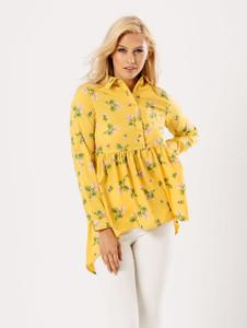 Mustard Floral Dip Hem Shirt