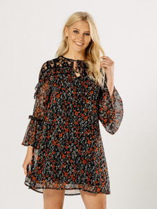 Lace Shoulder Multi Floral Sheer Print Ruffle Dress