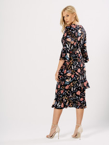 Multi Floral Asymmetric Layer Ruffle Midi Dress