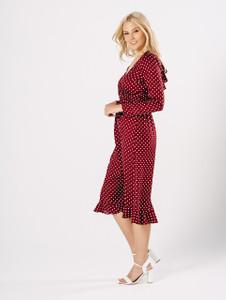 Polka Dot Ruffle Back Wrap Midi Dress