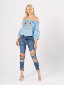 Blue Bardot Cotton Embroidered Top