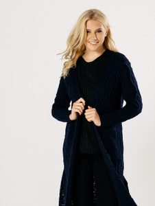 Navy Oversized Cable Knitted Cardigan