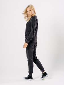 Charcoal Distressed Crew Neck Loungewear Set