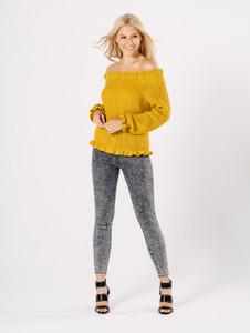 Mustard Knitted Bardot Ruffle Jumper