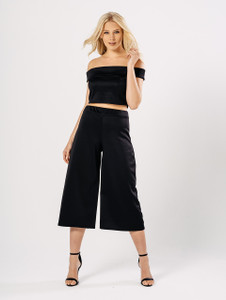 Black Bardot Top & Cropped Trousers Co Ord Set
