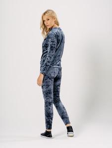 Grey Crushed Velvet Loungewear Suit