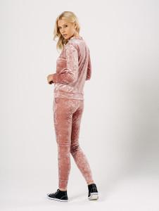 Pink Crushed Velvet Loungewear Suit