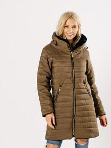 Olive Longline Puffer Jacket with Foldaway Hood