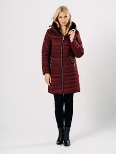 Wine Longline Puffer Jacket with Foldaway Hood