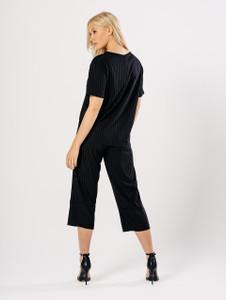 Black Loose Ribbed Culotte Co Ord Set