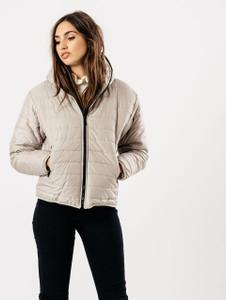 Stone Hooded Puffa Coat