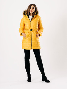 Mustard Longline Duffle Hooded Puffa Jacket Coat