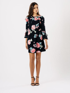 Rose Print Ruffle Back Detail Dress